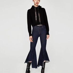 Zara FLARED JEANS WITH SEAMS-ref 5216/241-dark blu